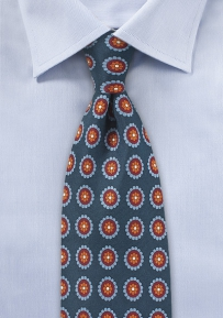 Medallion Print Silk Tie in Navy and Burgundy