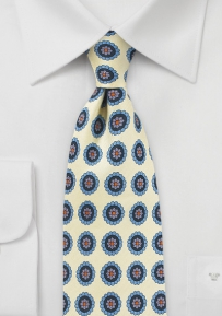 Medallion Print Silk Tie in Vanilla Cream