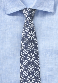 Cotton Print Tie Hidalgo in Blue and White