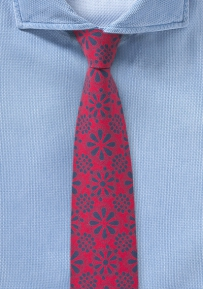 Cotton Print Tie Hidalgo in Red and Navy Blue