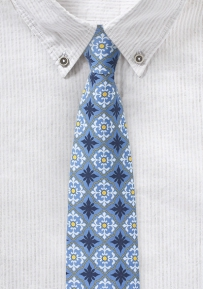Mexican Tile Print Cotton Tie in Light Blue