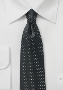 Jet Black Pin Dot Silk Tie