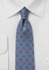 Vintage Print Designer Tie in French Blue