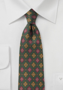 Dark Olive Green Retro Print Silk Tie