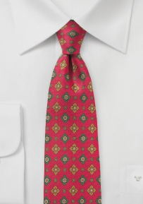 Red and Olive Floral Tie