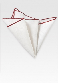 Fine White Linen Pocket Square with Burgundy Border
