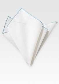 Fine Linen Pocket Square in White with Light Blue Border