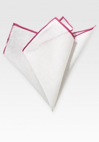 Fine Linen Pocket Square in White with Magenta Pink Border