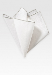 Fine Linen Pocket Square in White with Silver Border