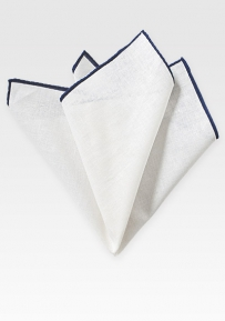 Linen Pocket Square in White with Navy Border