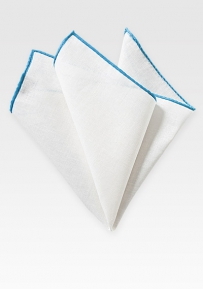 Fine White Linen Hanky with Malibu Blue Border