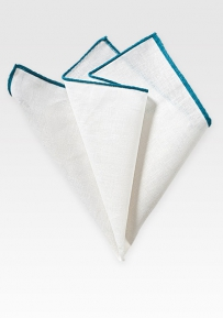 Fine Linen Pocket Square in White with Peacock Color Border
