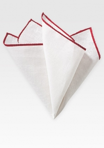 Fine Linen Hanky in White with Bright Red Border