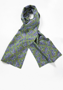 Olive Green and Blue Silk Scarf