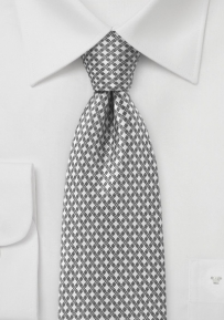 Designer Necktie in Ivory and Charcoal