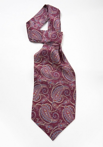 Elegant Silk Ascot in Burgundy with Paisley Print