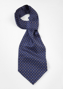 Navy Silk Ascot Tie with Floral Design