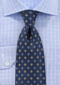 Navy Designer Silk Tie with Yellow Flowers