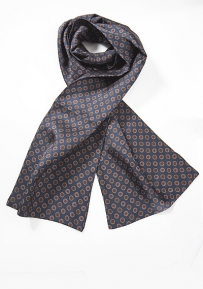Mens Silk Scarf in Blue with Retro Print Design