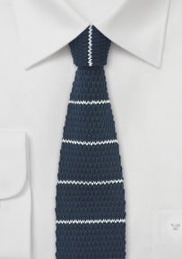 Cotton Knit Tie in Navy with White Stripe Design