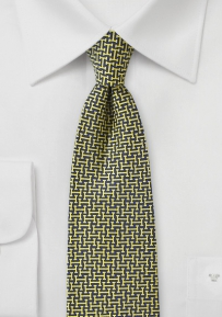 70s Retro Print Silk Tie in Dark Blue and Yellow