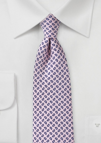 Handprint Silk Paisley Tie in Petal Pink and Navy