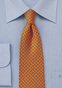 Handprint Silk Tie in Orange and Blue