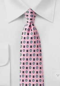Foulard Print Designer Tie in Pink and Blue