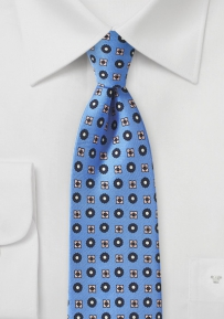 Sky Blue and Pink Foulard Silk Tie