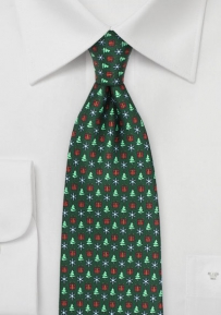 Seasons Greetings Christmas Necktie in Dark Green