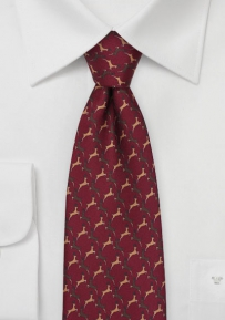Rudolph the Reindeer Tie in Burgundy