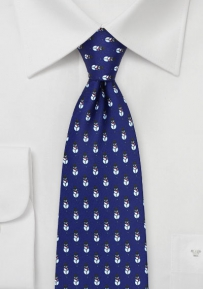 Christmas Tie with Snowmen Design in Royal Blue