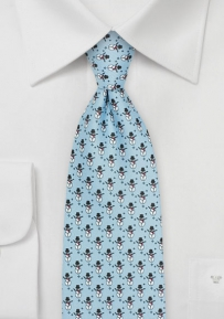 Ice Blue Mens Tie with Tiny Snowmen Design
