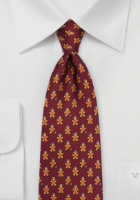 Gingerbread Men Necktie in Wine Red