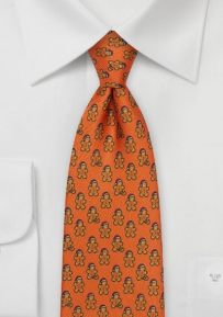 Gingerbread Men Designer Tie in Burnt Orange