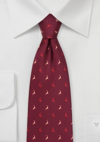 Christmas Tie in Wine Red with Reindeer Print