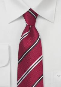 Repp Striped Silk Necktie in Ruby Red