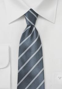 Classic Double Pinstriped Tie in Gray