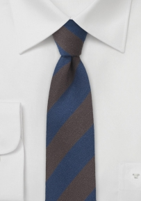 Modern Wool Tie in Dark Brown and Navy
