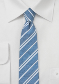 Striped Linen Necktie  in Light Blue Made from Linen and Silk