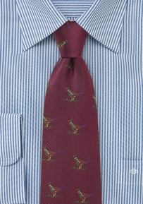 Burgundy Silk Tie with Embroidered Pheasant Birds