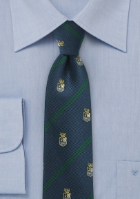 Crested Regimental Skinny Tie with Green Stripes