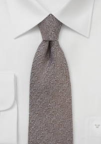 Autumn Wool Tie in Brown with Herringbone Pattern