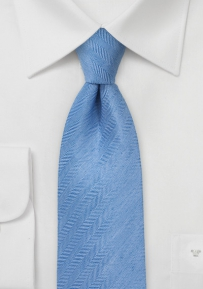 Herringbone Linen Tie in Sailboat Blue