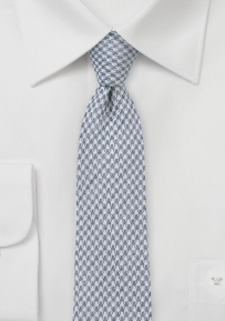 Cotton Blend Houndstooth Slim Tie in Grays