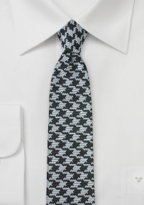 Trendy Skinny Tie with Black and Silver Houndstooth Check