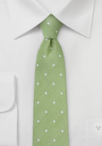 Green Linen Tie with Polka Dots