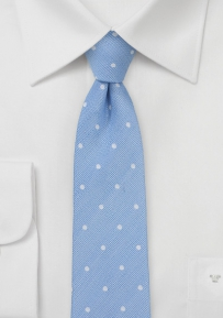 Light Blue Skinny Silky Dot Tie