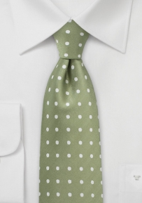 Polka Dot Men's Tie in Light Clover and Ivory