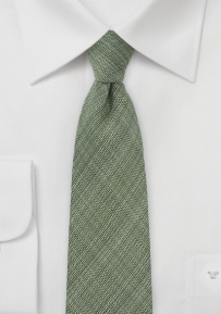 Skinny Chambray Wool Tie in Dark Green